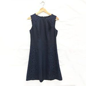 Adrianna Papell Lace Panel Navy A Line Dress